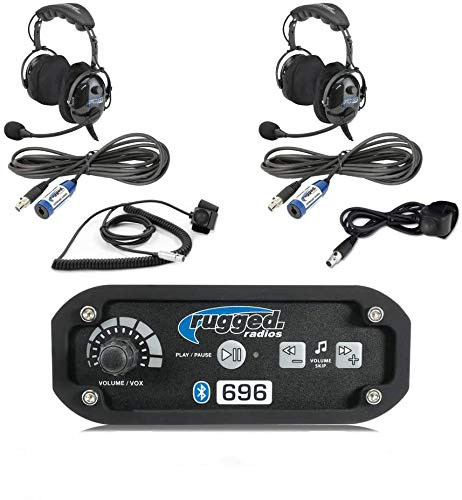 Rugged Radios RRP696 Black Out Series Intercom 2 Place Kit with Over The Head Headsets, Push to Talk Cables and Intercom Cables
