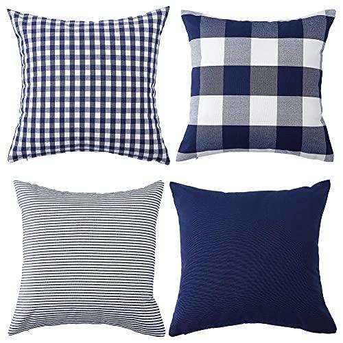Set di 4 federe decorative per cuscino a quadri in cotone a righe in tinta unita, per divano e camera da letto, 45 x 45 cm, blu scuro