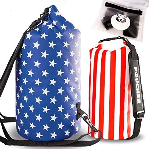 POUCHER  Two Waterproof Dry Bags with Internal Double Seal USA Stars amp Stripes Design Sizes 10L amp 20L Includes Waterproof Phone Pouch Great for Boating Kayaking Camping or a Day on The Beach