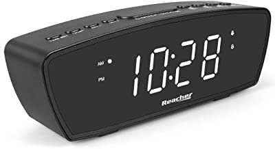 REACHER Simple Dual Alarm Clock with Adjustable Volume for Bedrooms - Small Size Big White Digits with USB Phone Charging Port, Dimmer, Snooze, Easy Operation for Bedside(Black)