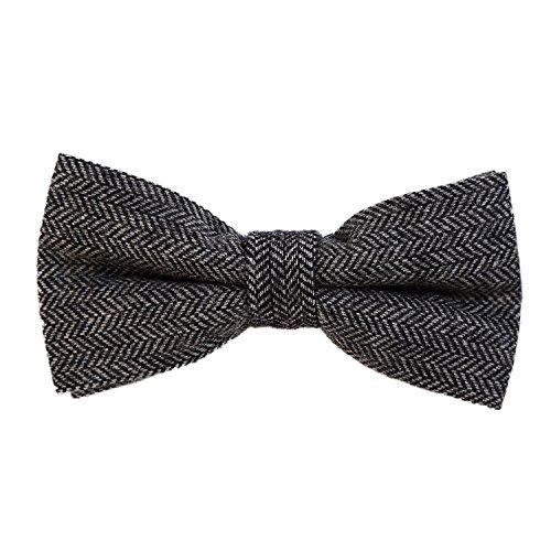 DonDon Herren Fliege 12 x 6 cm Fischgrät-Muster gebunden und stufenlos justierbar aus Baumwolle im Tweed Style schwarz-grau