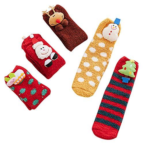 5 pares de calcetines de forro polar coral para mujeres, niñas, Papá Noel, muñeco de nieve, renos, fantasía, calcetines cálidos de invierno para dormir