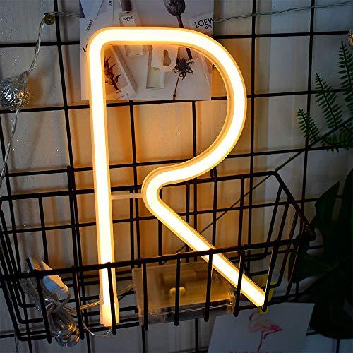 Carta luces de neón blanco caliente LED de neón Palabra signos de batería/USB Operado de neón de la letra R del alfabeto de la muestra de neón Palabras arte Luces de neón ligero de la pared de luz