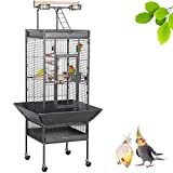 Yaheetech 61-inch Playtop Wrought Iron Large Parrot Bird Cages with Rolling Stand for Cockatiels Amazon Parrot Quaker Conure Parakeet Lovebird Finch Canary Small Medium Parrot Cage Birdcage, Black