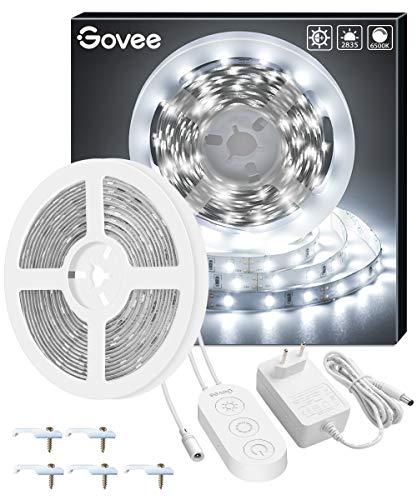 Striscia LED 5M Dimmerabile Bianco Freddo, Govee LED Striscia 6500K SMD 2835,Illuminazione Interna per Soggiorno Cucina Camera da Letto Albero di Natale