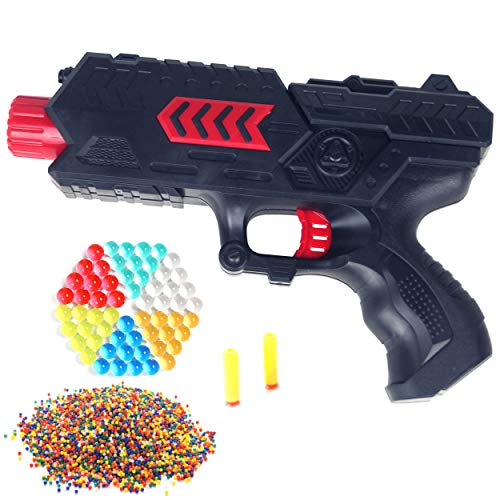 Cp-Tree Toy CS Game Gun Shooting 2-in-1 Air Soft Foam Bullet and 8400pcs Water Polymer Ball Pistol Projectile (Red)