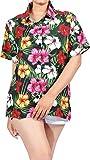 HAPPY BAY Women's Tropical Hawaiian Shirt Button Down Shirt Dress S Black_AA93