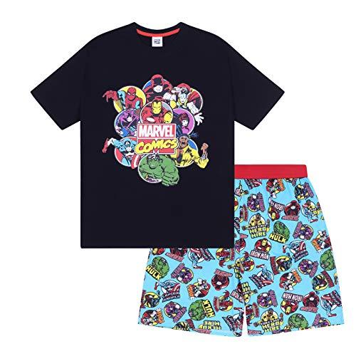 Marvel - Pijama Corto de superhéroes para Hombre - Producto Oficial - Negro - Median