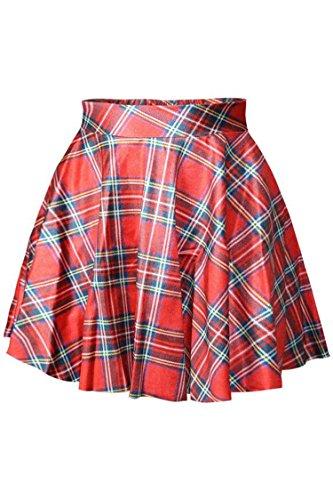 Herose Girls Elastic Wide Waistband Red Checkered Printed Mini Skirt Free Size