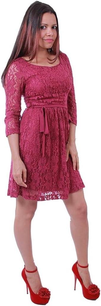kensie JRS Small Scoop Neck 3/4 Length Sleeves Tie Waist Lace Mini Tea Dress Dark Berry