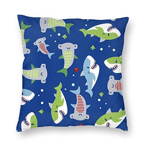 Fundas de almohada decorativas de tiburón de dibujos animados lindos peces océano funda de cojín cuadrada para sofá de coche, decoración del hogar, 45,72 x 45,72 cm
