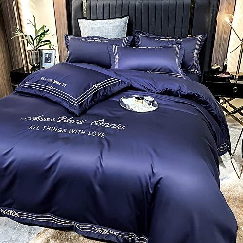 Bedding-LZ Juegos de sábanas de 90,Lavado de Agua de Verano lecho Gris Profundo Cama de Cuatro Piezas-B_1,8 m la Cama 4 Piezas