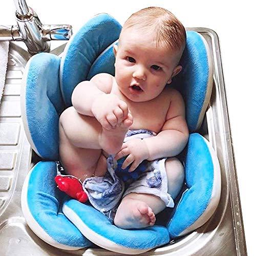 Materassino da Lavandino per Bagno di Neonati a Fiore Pieghevole Tappeto Morbido Protettivo in Spugna per Vaschetta Vasca (Blu Chiaro)