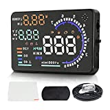 Head-up Display, Dagood Multi Color 5.5 inches Car HUD Windshield Screen Display Head up Display for Car to Display a Huge Range of Car Statistics with OBDII or EUOBD Interface Plug