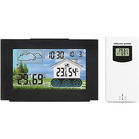 PopHMN Estación meteorológica con Sensor Interior para Exteriores, Reloj Despertador Digital inalámbrico LCD con RF con Temperatura/Humedad/pronóstico del Tiempo/Reloj Despertador/repetición