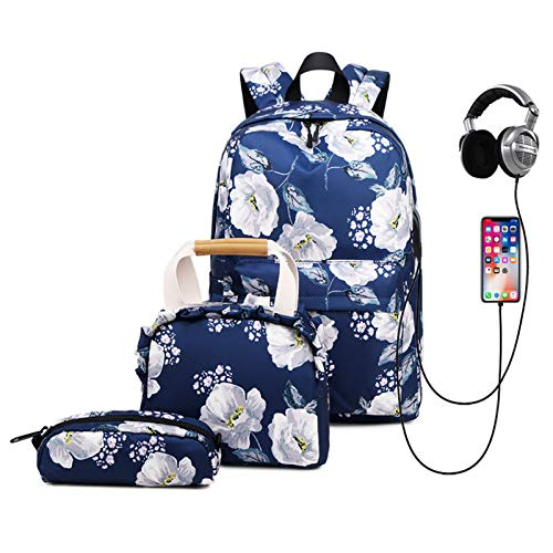 Generisch Backpack Printed Pattern, Casual Student School Bags with Lunch Box Bag and Pencil Case for Girls/Boys Nylon Waterproof College (Navy blue)