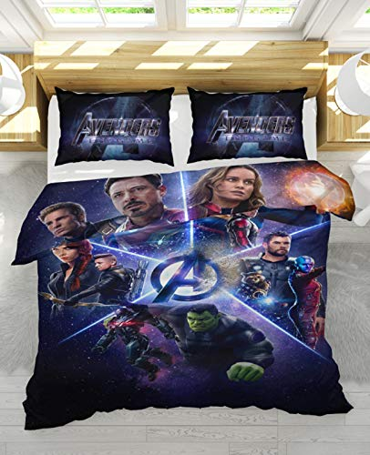 NIU Luxurious Polyester fiber Duvet Cover 3D Avengers Kids Reversible Bedding Set with Zipper Closure - Comfortable, Fade Resistant and Extremely Durable (Color : A, Size : King : 260x230cm)