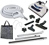 35' Central Vacuum Kit with Hose, Power Head & Wands - Black - Works with all brands of central vacuum units