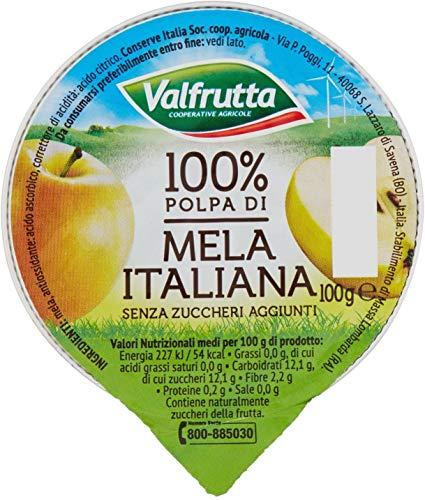 Valfrutta - 100% Polpa di Mela, senza zuccheri aggiunti e glutine - 60 vaschette da 100 g