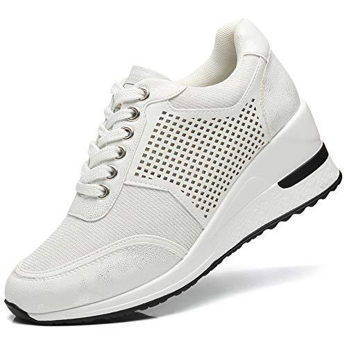 Zapatillas Deportivas de Cuña de Plataforma para Mujer - Casuales Calzado Seguridad Deportivo para Correr Running Zapatos Mujer Comodos RTEUSM1-WHITE-38