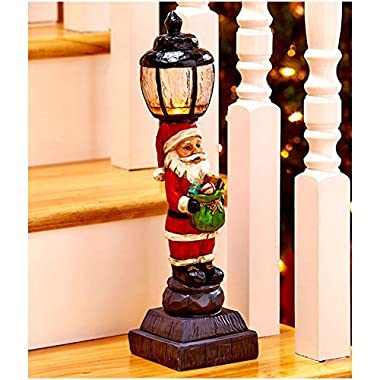 Christmas Decorations Battery Operated Light Lamp Post Indoor Decor - 15-1/4  Santa