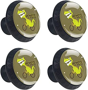"4 Pack Round Cabinet Hardware Knob Cartoon Animal Dinosaurs - 1-37/100"" Diameter - knobs for Dresser Drawers"