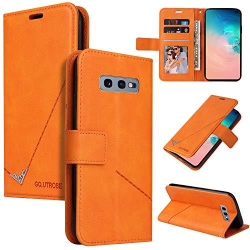 Snow Color Galaxy S10e Hülle, Premium Leder Tasche Flip Wallet Case [Standfunktion] [Kartenfächern] PU-Leder Schutzhülle Brieftasche Handyhülle für Samsung Galaxy S10e/G970F - COYKB060294 Orange