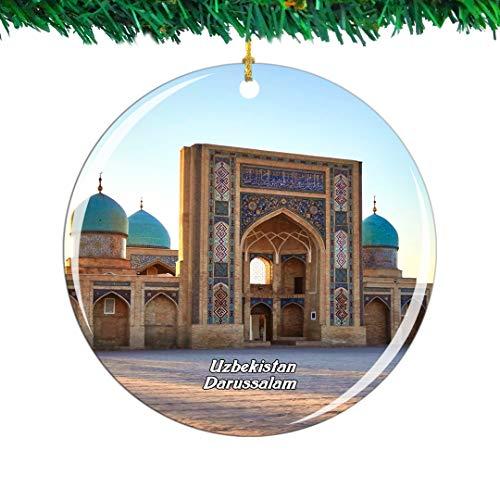 Weekino Hazrati Imam Mosque Tashkent Uzbekistan Ornamento di Natale Città Viaggio Souvenir Collezione Doppia Faccia Porcellana 2,85 Pollici Decorazione ad Albero Appeso