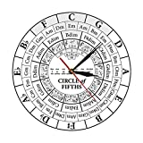 PYIQPL Reloj de Pared Circle of Fifths Stave Músico Compositor Regalo Enseñanza de música Reloj de Cuarzo Colgante Moderno Teoría de la armonía Reloj de Pared de Estudio Musical