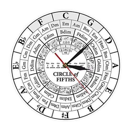 N/A PYIQPL Circle of Fifths Stave Músico Compositor Regalo Enseñanza de música Reloj de Cuarzo Colgante Moderno Teoría de la armonía Reloj de Pared de Estudio Musical 47inch (Plata)