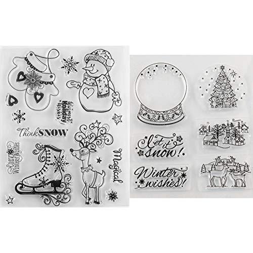 Tikkii Transparente Weihnachts-Stempel für Feste, Dekorationen für Karten und Scrapbooking, 2 Stück