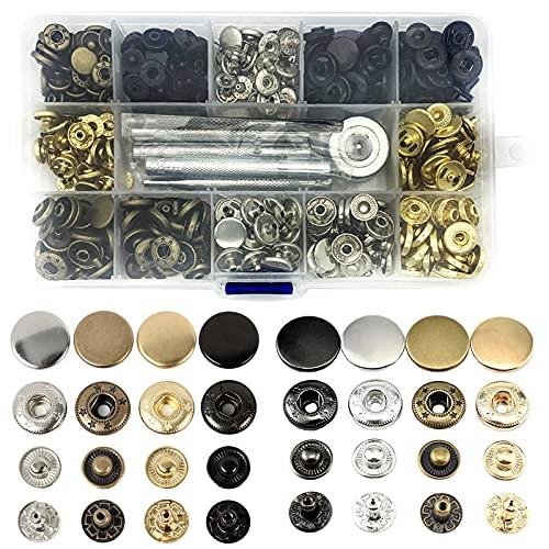 120-teiliges Set aus Metallknöpfen, Druckknopf-Set, Druckknöpfe mit 4 Befestigungswerkzeugen, für Lederjacken, Jeans, Mäntel, Taschen, Kleidung, 4 Farben
