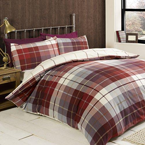 Rapport Lomond Check 100 Percent Brushed Cotton Duvet Set, Red, King