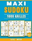 Maxi Sudoku 1000 Grilles: 2 Niveaux Facile et Moyen pour Adultes avec Solutions (Vol. 1)