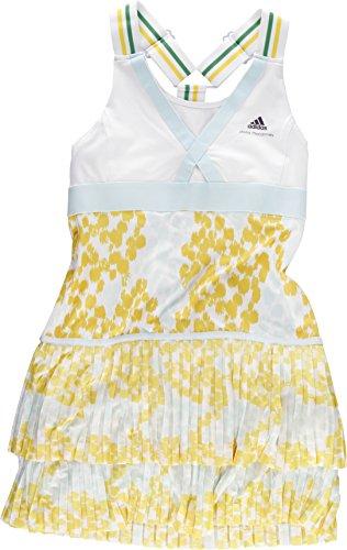 adidas Damen Kleider by Stella McCartney Barricade Dress Caroline Wozniacki, Weiß, Gelb, Hellgrün, 36