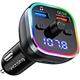 VicTsing FM Transmitter for Car, Bluetooth 5.0 Car Radio Audio Adapter with QC3.0 Quick Charge & 6 RGB Colorful Light, MP3 Player Car Charger Support Hands-Free Calling, USB Drive, TF Card
