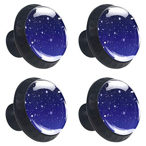 Juego de 4 pomos de cristal para armario de 1.18 pulgadas, tiradores transparentes para cajones de cocina, baño, aparador y armario, estrellas brillantes