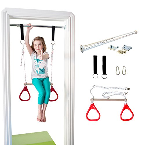 Find Cheap DreamGYM Indoor Swing - Trapeze Bar and Gymnastic Rings Combo for Doorway Gym - Red