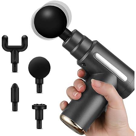 PPW Mini Massage Gun Deep Tissue Massage Gun,USB Recharge,4 Massage Heads,Travel Home Handheld Electric Massagers for Body Muscle Relax 6 Modes (Grey)