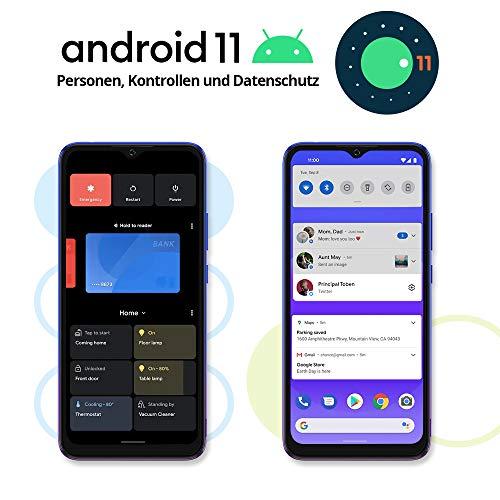Blackview A70 (E) Smartphone ohne Vertrag Android 11, 6.517 Zoll HD mit 5.380mAh Batterie, 3GB RAM+32GB Speicher Octa-core, 13MP+5MP Kamera, Fingerabdruck Sensor, 4G Handy Dual SIM Mist Blau - 2