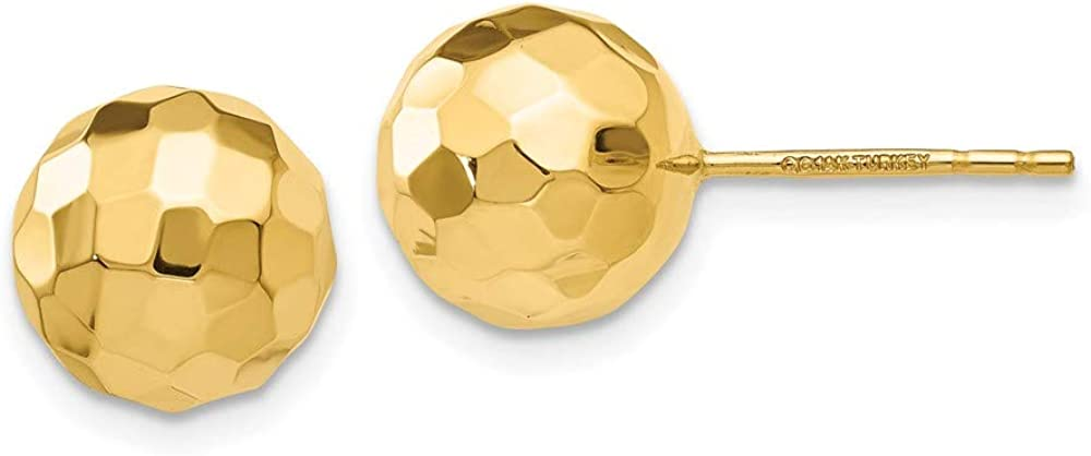 14k Yellow Gold 9.5mm Ball Post Stud Earrings Button Fine Jewelry For Women Gifts For Her