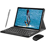 4G Tablet 10 Zoll - Android 9.0 Zertifiziert von Google GMS, 2 in1 Tablet mit Tastatur 4 GB RAM und 64 GB ROM, 8000 mAh Quad-Core, Dual SIM,WiFi,Bluetooth, GPS, OTG, Typ C - Schwarz