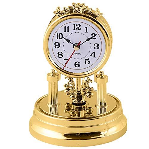 Unbekannt TRI Standuhr Nostalgie, Gold, antik, Retro, barock, altmodische Drehpendeluhr, Tischuhr, Retrouhr, Dekouhr, Vintage, batteriebetrieben Glasuhr