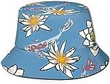 Koi Carp Fish Flowers Lotus Flat Top Unisex Sombrero de Pescador Gorras al Aire Libre para Viajes Playa Protección Solar Gorra de Pescador Narvales y Delfines Sombrero de Cubo Sombrero de Pescador de