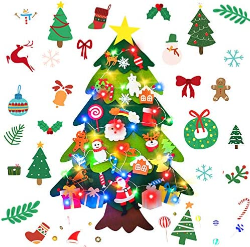 AY 3 4 FT Felt Christmas Tree with 30 Pcs Detachable Ornaments and 40 Colorful LED Lights DIY product image