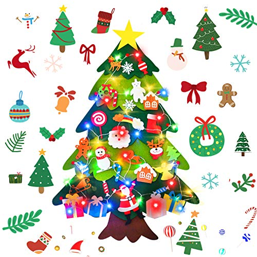 AY 3.4 FT Felt Christmas Tree with 30 Pcs Detachable Ornaments and 40 Colorful LED Lights, DIY Christmas Decorations for Kids Toddlers Xmas Gifts Door Wall Hanging Decorations