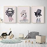 nkfrjz Niedliche Tier Leinwand Gemälde Kawaii Maske Kaninchen Wand Kunst Kinderzimmer Bilder wandaufkleber kinderzimmer