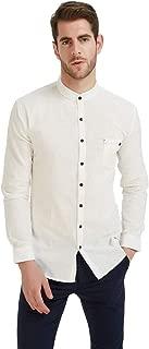 Men's Long Sleeve Mandarin Collar Shirts Men's Slim Fit Linen Shirt