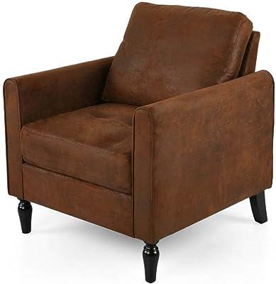 Amazon.com: Laura Modern Glam Leather Cube Club Chair, White ...