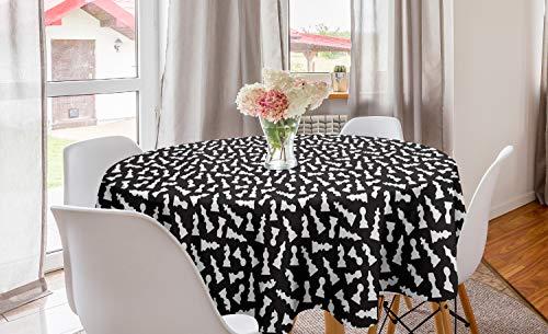 ABAKUHAUS Bordspel Rond Tafelkleed, Schaakstuk Silhouettes, Decoratie voor Eetkamer Keuken, 150 cm, Zwart en wit